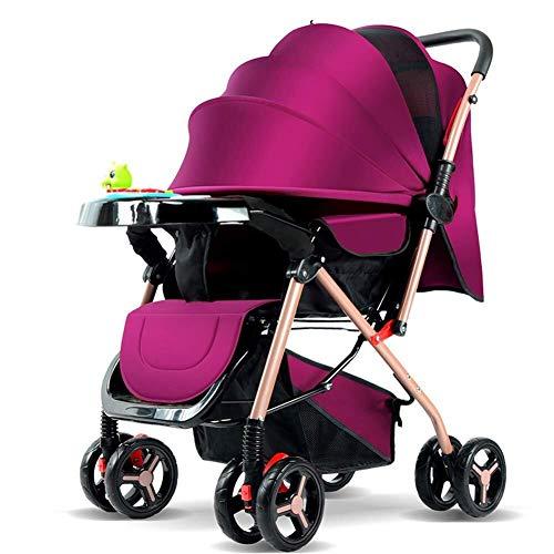 HZC Kinderwagen-Tragetasche und Kinderwagen, Leichter zusammenklappbarer Buggy, mit 5-Punkt-Sicherheitsgurt und Multi-Position Reclining Seat, Kinderwagen mit Stubenwagen (Farbe : Lila)