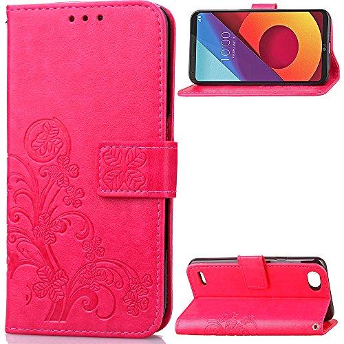 Kihying Hülle für LG Q6 / Q6 Plus / G6 Mini / Q6 Prime Hülle Schutzhülle PU Leder Flip Wallet Fashion Geschäft HandyHülle (Rot - SD05)