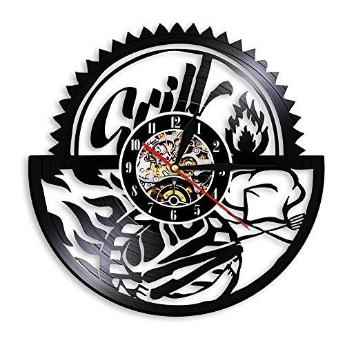GZWSM Gril Party Laser Cut Saat Vintage Vinyl LP Led Rekord Wanduhr Uhr Grill Kreative Horloge Foodie Einweihungsparty Decor-No_Led 30 cm -