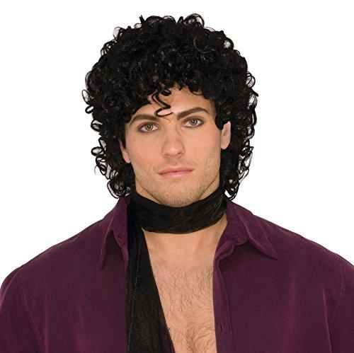 90s Rockstar Prince Perücke gelockt schwarz Locken Karneval Star (Rain Halloween Purple Kostüme)