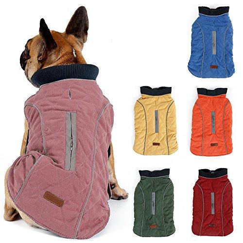 TFENG Reflektierend Hundejacke für Hunde, Hundemantel Warm gepolstert Puffer Weste Welpen Regenmantel mit Fleece (Rosa, Größe 2XL)