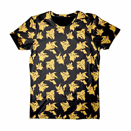 Meroncourt-Pikachu-All-over-Print-Camiseta-Hombre-Negro-Black-Large