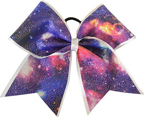 Sparkle Bows Cheer Purple Galaxy Cheer Bow