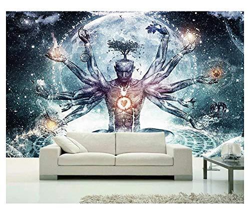 JDD Indischer Buddha mit Tausenden Händen Wandteppich Heiligen Buddhismus Yoga Meditation Wandbehänge Boho Hippie Mandala Tapisserie Wandkunst Strandtuch Strand Schal Tisch Sofa Cover Wand Dekor