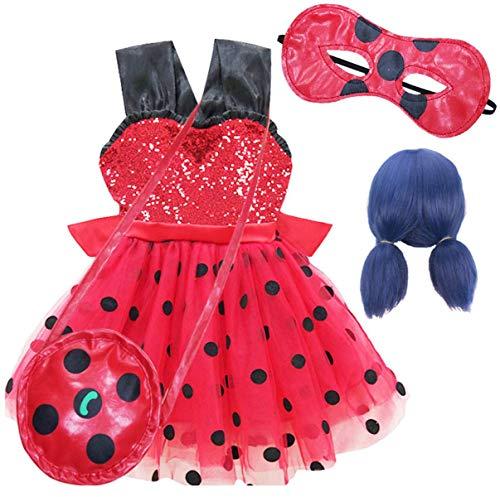 EMIN Kinder Mädchen Miraculous Ladybug Kostüm Kleid Cosplay Kleider Schick Party Ankleiden Halloween Karneval Geburtstag Ärmellos Pailletten Polka Dots Tutu mit Augenmaske + Tasche + Perücke 4Pcs