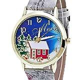 Fittingran L'albero di Natale delle donne e la nuova ragazza analogica degli orologi delle signore del modello della casa guarda gli orologi femminili del cuoio (Grigio)