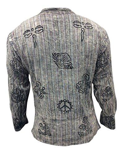 Shopoholic Fashion unisex stonewashed gestreift Leicht Hippy Großvater Shirt L. graue Mischung