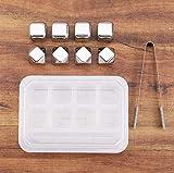 Edelstahl Eiswürfel Set von 8, Qoolivin whisky steine mit rutschfesten Gummi-Zangen und Ablage - 5