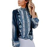 Blusen Damen Pullover Shirts Chiffon Shirt Frauen Mode Drucken Langarm Bluse Stehkragen Tops Oberteile Streeshirt Sweatshirt,ABsoar