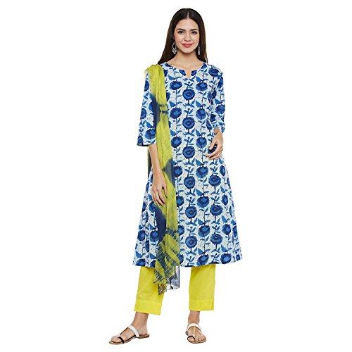 Pinkshink Blue & Yellow Cotton Salwar Suit Dress Material k226