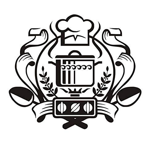 LKOBN Wandaufkleber Chef Badge Home Decor Wandbild Applique Kessel Gas Vinyl Küche Restaurant Aufkleber 66 cm * 58 cm -