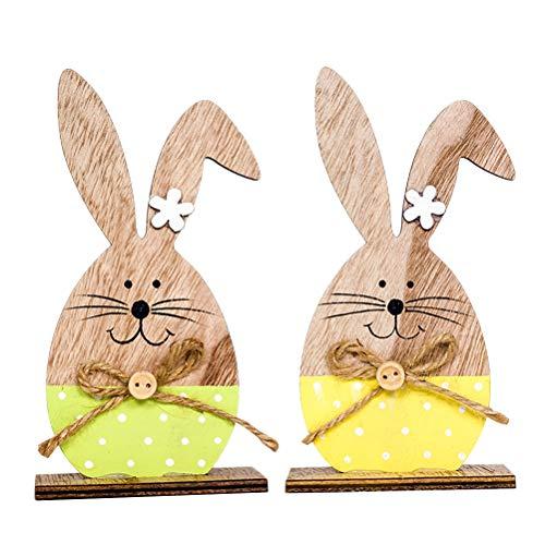 BESTOYARD Coniglio di Pasqua in Legno Ornamento Coniglietti Artigianato Legno 2pcs