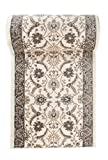 Läufer Teppich Flur in Beige Creme Ecru - Orientalisch Klassischer Muster - Brücke Läuferteppich nach Maß - 80 cm Breit - AYLA Kollektion von Carpeto - 80 x 200 cm