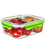 SELEWARE Frischhaltedosen Mikrowelle Lunchbox 100% bpa frei Luftdicht Auslaufsicher mit 2 fächern sicher für Gefrierschrank und Spülmaschine,Tritan (1,20 Liter, Rechteck, Grün)