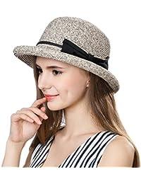 42c0f74b5f2 Ladies Summer Sun Hats Women Floppy Panama Straw Beach Hats Foldable Rolled  Short Brim - UPF