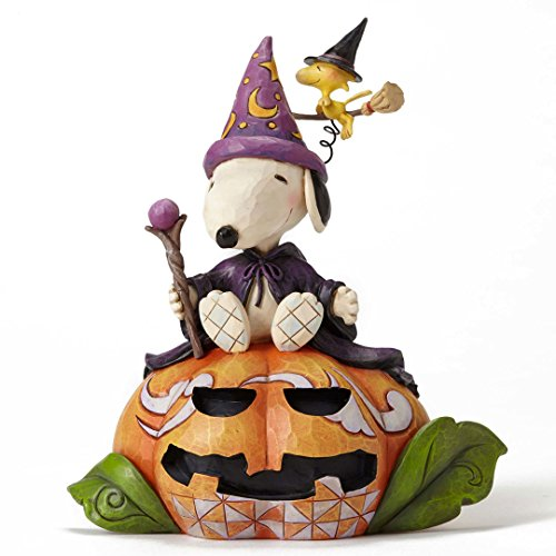 Peanuts Jim Shore Halloween Zauberer Snoopy und Hexe Woodstock Figur New W Box