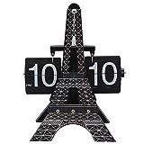 YYWDP Cambio automático de página, Relojes Decorativos de Escritorio Moda Reloj Digital Creativo Reloj Modelo de la Torre Eiffel Accesorios Antiguos para el hogar Reloj de decoración de Escritorio