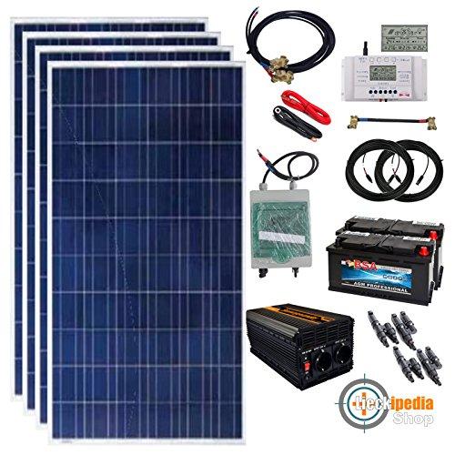 1000 Watt Solar-Inselanlage 24V mit 2000/4000W/220V-Spannungswandler und Batterie