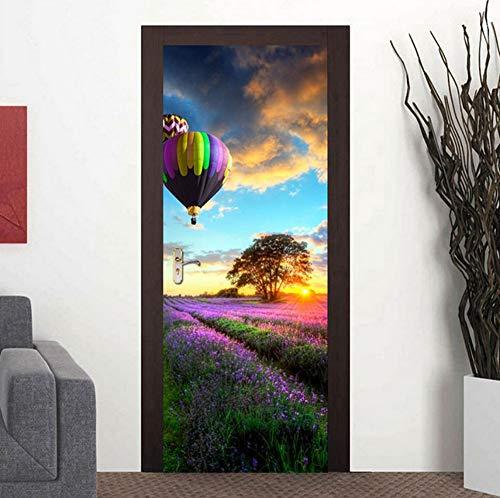 LXHLXN 2 Teile/Satz Farbe Blume Bett tür Kunst dekor Hause kreative DIY 3D tür Aufkleber Muster für Wand Zimmer Hause tür Decor - Blume-bett-satz