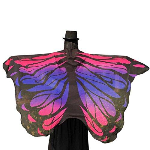 2 Kostüm Mann Rentier - Chiffon Umschlagtücher, ESAILQ Damen Schöner Chiffon Schmetterling/Pfau Flügel schal überwurf Fairy Damen Nymphe Pixie Kostüm Zubehör 197 x 125CM (Hot Pink-2)