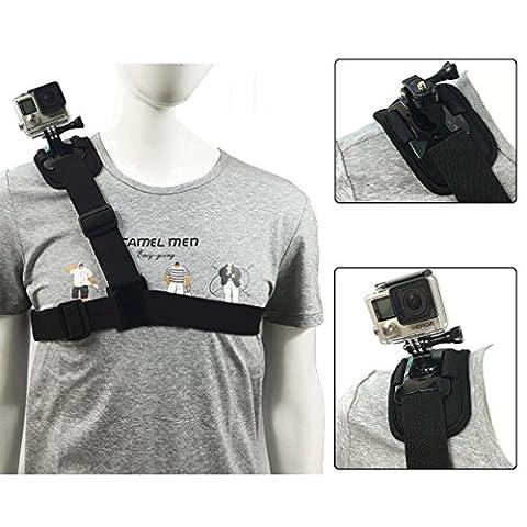 Aursen® Harnais de Fixation pour Épaules pour GoPro HERO5/4/3 +/3/2/1 Courroie de l'Appareil GoPro (Noir)