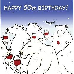 Lustige Geburtstagskarte mit Eisbären und Wein von Twizler, zum 50. Geburtstag, humorvolle Karte