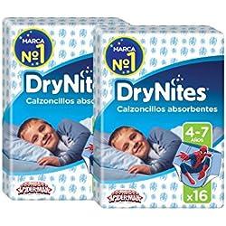 Huggies DryNites, 4 - 7 años niño, 2 packs de 16 [32 pañales]