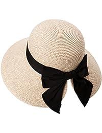 Siggi Ladies Floppy Summer Sun Beach Straw Hat UPF 50 Foldable Wide Brim Adjustable