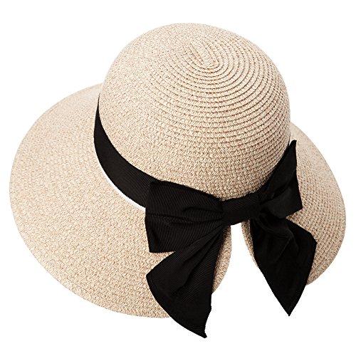 SIGGI Stroh beiger faltbarer Sommerhut UPF 50 + mit Sonnen Shade Strand breite Krempe für Damen (Sonne Hut Damen)
