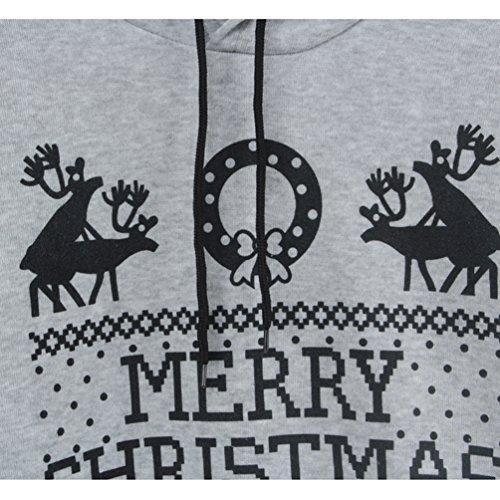 NiSeng Natale Felpa Con Cappuccio 1 Pezz Pullover Donna 2 Pezzi Sweatshirt Tute Sportivo Training Pullover Felpa Con Cappuccio +Pantaloni Tute Grigio