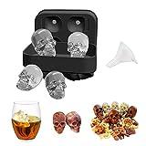 Molde para cubitos de hielo con tapa y embudo, diseño de calavera en 3D, sin BPA, molde de silicona para repostería de chocolate y dulces, molde para hacer cubitos de hielo para whisky, cócteles, bebidas y fiestas Skull