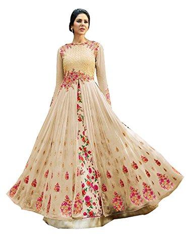 Ffashion Women's Georgette Salwar Suits (A _Cream_Free Size)