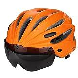 BLOIBFS ZPXLGWSport Herren Fahrradhelm 17 Vents Radfahren Mountain Road Magnetische Reithaube Reithelm PC EPS Rot Grau Schwarz Hellgrün Orange,Orange-OneSize