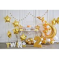 LEDMOMO 3D Fondo de Foto de Banquete de Segundo Cumpleaños con Globos Fondo de Pared Apoyos de Pared Decoraciones para Bbeés Tomar Fotos Fiestas 5 x 3 pies (Dorado)