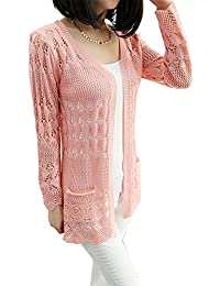 Damen Mädchen Strickjacke lang dünn Cardigan Coat Strick Mantel Knit Pullover
