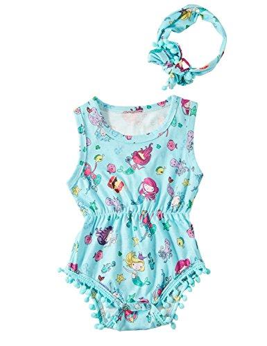 chicolife Baby-Mädchen Strampler Neugeborenen Sommerkleidung setzt Meerjungfrau Body Overall ärmellose Outfits + Bogen Stirnband 2 t