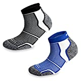 2 Pairs More Mile New York Cushioned Sports Running Socks 8.5-10.5 UK / 42-45 EU Black/Blue