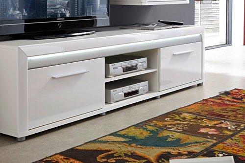 5-tlg. Wohnwand in Hochglanz weiß/Abs. aluminiumfarben, mit LED-Beleuchtung, 1 Vitrine, 2 Wandboards, 1 TV-Bank, 1 Hängevitrine, B/H ca. 322/201 cm - 3