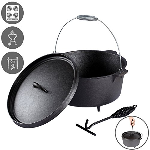 Voilamart 8.5ltr/9QT Pre-Seasoned Cast Iron Dutch Oven Outdoor Cooking Pot Campfire Cookware with Lid Lifter and Bail Handle