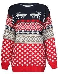 Fast Fashion Damen Neuheit Rentier Strickte Weihnachten Jumper Sweatshirt (SM = 36/38, Red/Navy)