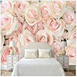 WH-PORP 3D Tapete 3D Fototapete Romantische Wandmalereien Moderne rosa Rose 3D Wallpaper Schlafzimmer Hochzeitszimmer Tv Wall Murals Wallpaper für Wände 3D-300cmX210cm