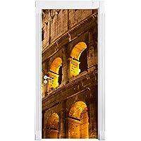 Anfiteatro a Roma di notte come una parete, Formato: 200x90cm, telaio della porta, adesivi porta, porta decorazione, autoadesivi del