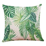 4PC Kissenbezug Big Leaf Tropische Pflanzen Kopfkissen Sofa Lendenkissen Home Decor Cushion Cover Pillow Cover 45cm x 45cm LuckyGirls (N)