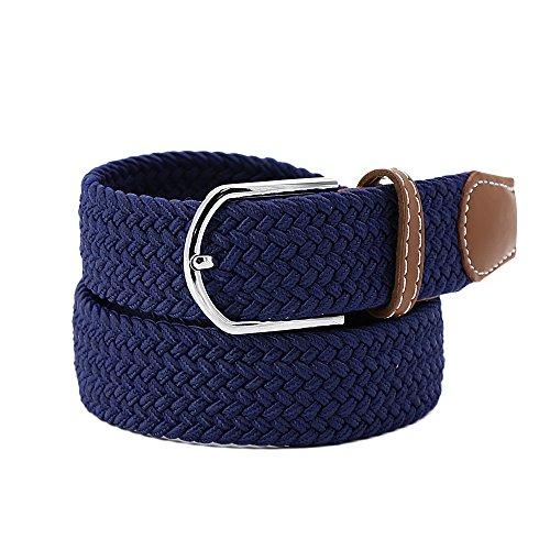 Kusun Gewebt Stretch Gürtel Leinwand Elastische Strap für Frauen Männer Blau