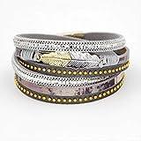 Armbänder Damen Mehrschicht Leder Wickelband Legierung Blatt Montage Armband Armband SchmuckA Armband