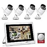 YESKAMO Caméra de Surveillance Sans Fil avec 4 Caméras Wifi IP 1080P et 12' écran, Système Caméra de Sécurité Intérieur et Extérieur avec Vision Nocturne, Alerte de Détection de Mouvement avec 2To HDD