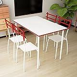 iKayaa 5 Teilig Essgruppe Tischgruppe aus 1 Esstisch 110x70cm + 4 Stühle Metallrahmen für 4 Personen