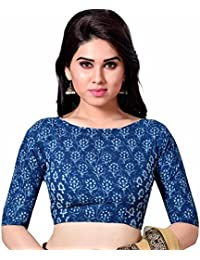 13ac5f24bf5b2 STUDIO SHRINGAAR LATEST PURE COTTON BLUE JAIPURI BLOCK PRINTED WOMENS SAREE  BLOUSE WITH BOAT NECK AND