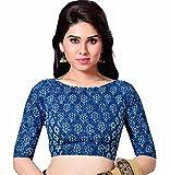 Studio Shringaar Cotton Saree Blouse(S1887_38_Indigo Blue_Medium)