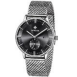 WWOOR Herren Luxus Edelstahl Armbanduhr Mesh Band Uhr mit Datum Schwarz